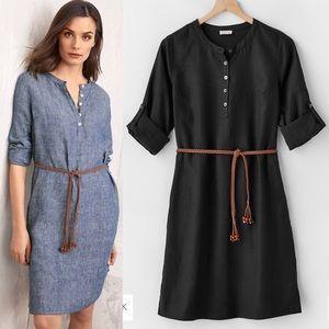 ❤️ Garnet Hill Black 100% Linen Shirt Dress 00